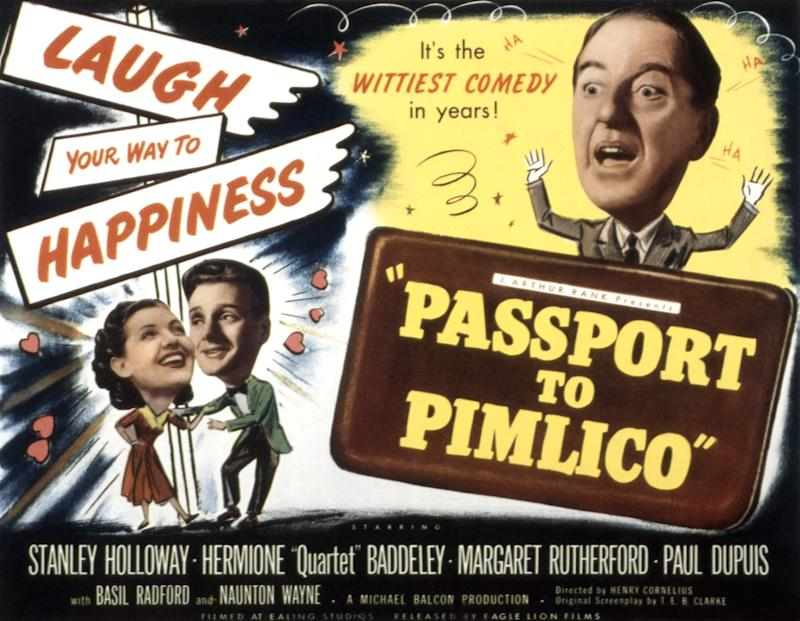 Passport To Pimlico, lobbycard, Barbara Murray, Paul Dupuis, Stanley Holloway, 1949. (Photo by LMPC via Getty Images)