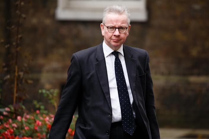 Minister for the Cabinet Office and Chancellor of the Duchy of Lancaster Michael Gove, Conservative Party MP for Surrey Heath, arrives on Downing Street for the weekly cabinet meeting at the Foreign, Commonwealth and Development Office (FCDO) in London, England, on October 13, 2020. (Photo by David Cliff/NurPhoto via Getty Images)