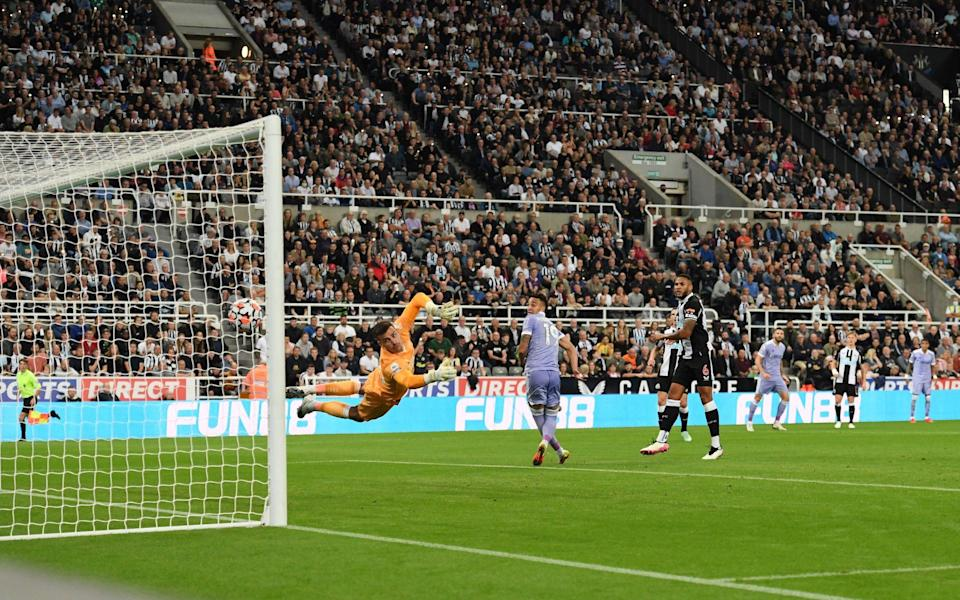 Karl Darlow of Newcastle United dives but fails to save as Raphinha of Leeds United scores - Stu Forster/Getty Images
