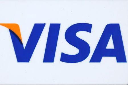 The logo of Dow Jones Industrial Average stock market index listed company Visa (V) is seen in Los Angeles
