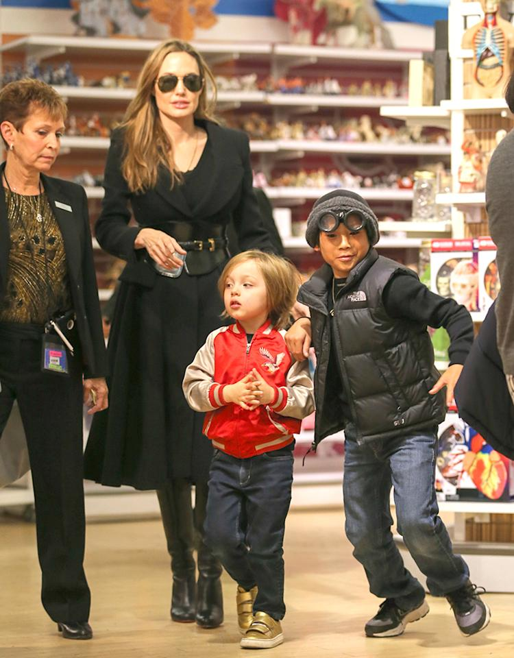 Angelina Jolie and kids Knox and Pax seen shopping in FAO Schwarz in New York City, USA.