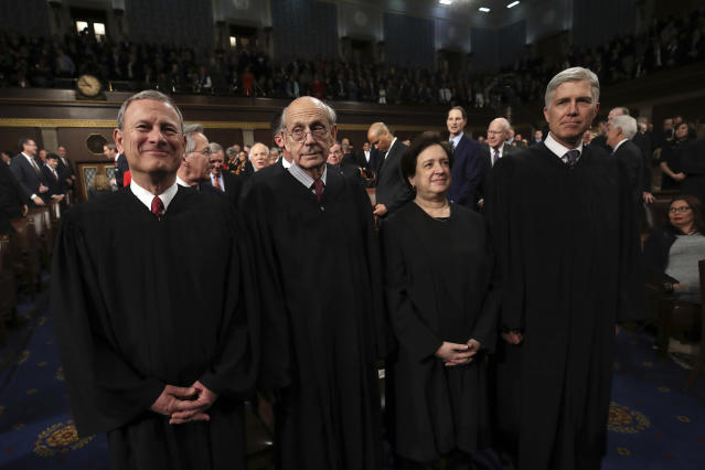 <p>From left: U.S. Supreme Court Chief Justice John G. Roberts, Justice Stephen G. Breyer, Justice Elena Kagan and Justice Neil M. Gorsuch arrive for the State of the Union address in the chamber of the U.S. House of Representatives on Jan. 30 in Washington, D.C. (Photo: Win McNamee/AP) </p>