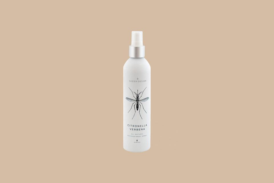 """<p>If you thought citronella was only available in candle form, then you'd be mistaken. Formulated with a mix of citronella oil, lime, and soy bean and castor oils, this all-natural spray effectively keeps bugs away by <a href=""""https://www.marthastewart.com/268545/citronella-candles"""" rel=""""nofollow noopener"""" target=""""_blank"""" data-ylk=""""slk:masking the smells"""" class=""""link rapid-noclick-resp"""">masking the smells</a> biting insects are attracted to.</p> <p><strong><em>Shop Now: </em></strong><em>Skeem Design Citronella Verbena Body Spray, $30, <a href=""""https://www.skeemshop.com/citronella/ctsp-citronella-body-spray"""" rel=""""nofollow noopener"""" target=""""_blank"""" data-ylk=""""slk:skeemshop.com"""" class=""""link rapid-noclick-resp"""">skeemshop.com</a></em><em>. </em></p>"""