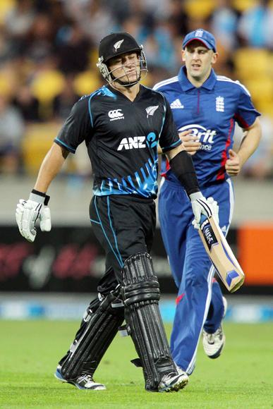Nathan McCullum of New Zealand shows his disappointment after dismissed during the third Twenty20 International match between New Zealand and England at Westpac Stadium on February 15, 2013 in Wellington, New Zealand.  (Photo by Hagen Hopkins/Getty Images)