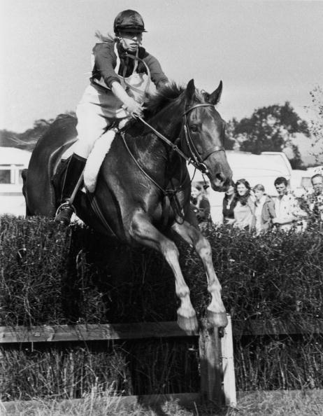 <p>Riding her horse Doublet over a fence during a three-day event at Burghley, Lincolnshire.</p>