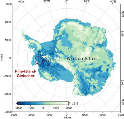 Topographic map of Antarctica, the Pine Island Glacier is marked in red.