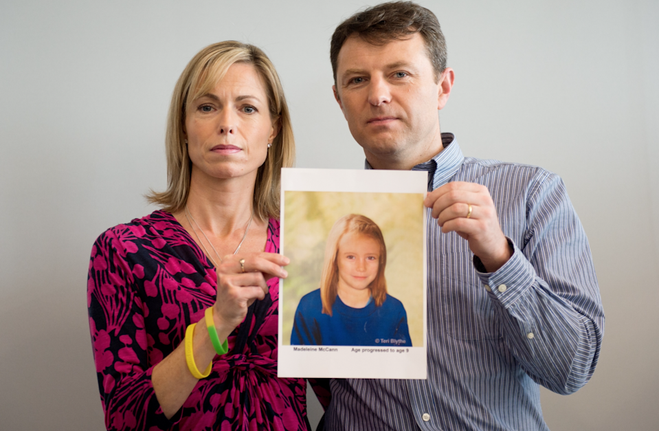 Kate and Gerry McCann pose with an artist's impression of how their daughter might look at the age of nine ahead of a press conference in central London on May 2, 2012. Source: Getty Images