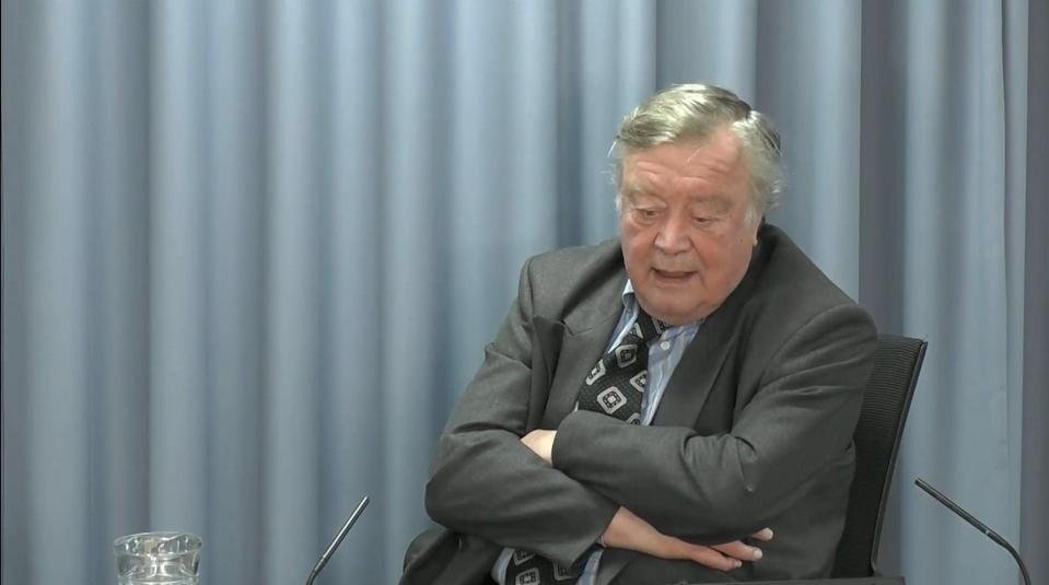 Lord Ken Clarke gives evidence at the Infected Blood Inquiry on the second day. (Infected Blood Inquiry/PA) (PA Media)