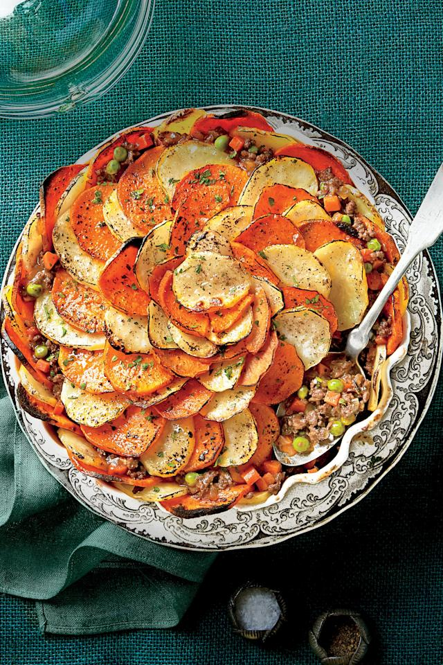 """<p><strong>Recipe: <a href=""""https://www.southernliving.com/recipes/shepherds-pie-potato-crust-recipe"""">Shepherd's Pie with Potato Crust</a></strong></p> <p> You might call yourself a shepherd too if it meant you would get a dinner this good. Our version of a Shepherd's Pie is certainly a Southern dinner classic. Instead of mashed potatoes we use scalloped potatoes for the crust, cut with a mandolin slicer—but a knife will work just as well. For the filling, lean ground chuck is perfect, while red wine will add flavors that are rich and bold. Our Shepherd's Pie has a dash of Worcestershire Sauce, as well as a hearty measure of English peas. This dish will keep you warm on a cool night, but it is fresh and delicious at any time. Round up your appetite and enjoy our Shepherd's Pie.</p>"""