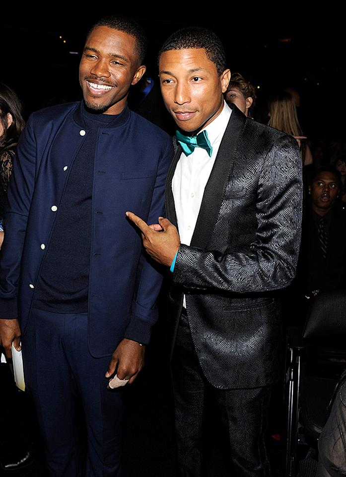 LOS ANGELES, CA - FEBRUARY 10:  Frank Ocean and Pharrell Williams attend the 55th Annual GRAMMY Awards at STAPLES Center on February 10, 2013 in Los Angeles, California.  (Photo by Kevin Mazur/WireImage)