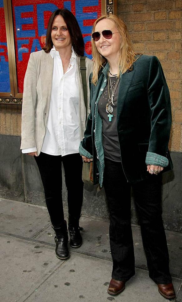 """Falco was cheered on by """"Nurse Jackie"""" creator Linda Wallem and her girlfriend Melissa Etheridge. Unfortunately, the couple wore rather frumpy ensembles. Janette Pellegrini/a href=""""http://www.wireimage.com"""" target=""""new"""">WireImage.com - April 25, 2011"""