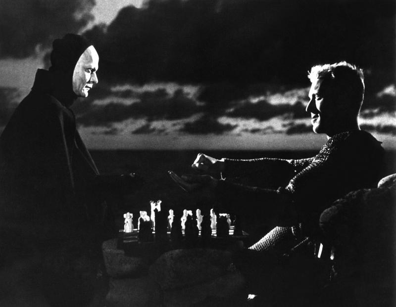 Swedish actors Bengt Ekerot and Max Von Sydow on the set of Det Sjunde Inseglet (The Seventh Seal), written and directed by Ingmar Bergman. (Photo by Sunset Boulevard/Corbis via Getty Images)