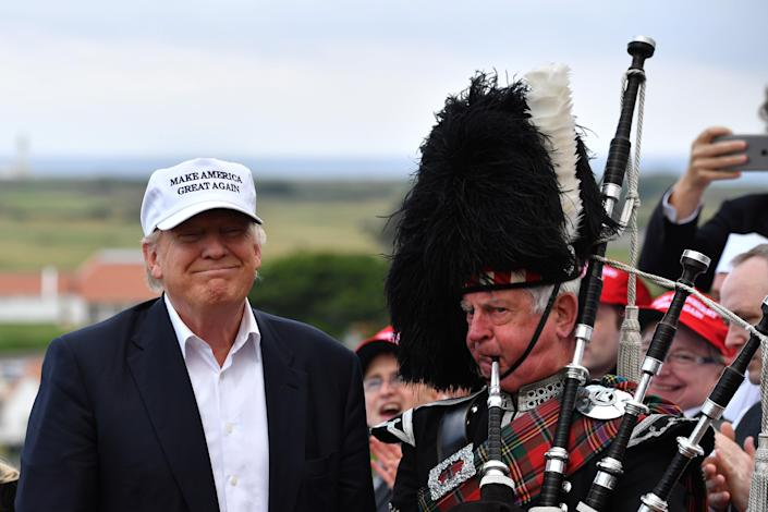 <p>White House denies Trump was planning Scotland trip after Sturgeon tells him he's not allowed because of Covid.</p> (Jeff J Mitchell/Getty Images)