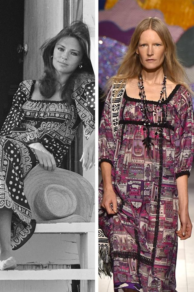 <p>Left: Jacqueline Bisset lounging in a peasant-inspired, square-neck dress. Right: Current-season Anna Sui, featuring an incredibly similar peasant-inspired, square-neck dress.</p>