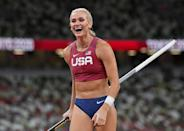 """<p>Biography: 30 years old</p> <p>Event: Women's pole vault</p> <p>Quote: """"I think especially with pole vault, it's a lot of hard work and a little bit of luck. And I'm so grateful that it went my way today.""""</p>"""