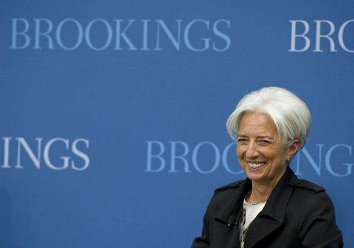 Christine Lagarde speaks at the Brookings Institute in Washington, DC