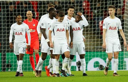 Soccer Football - Champions League - Tottenham Hotspur vs Apoel Nicosia - Wembley Stadium, London, Britain - December 6, 2017 Tottenham's Georges-Kevin Nkoudou celebrates scoring their third goal with team mates Action Images via Reuters/Andrew Boyers