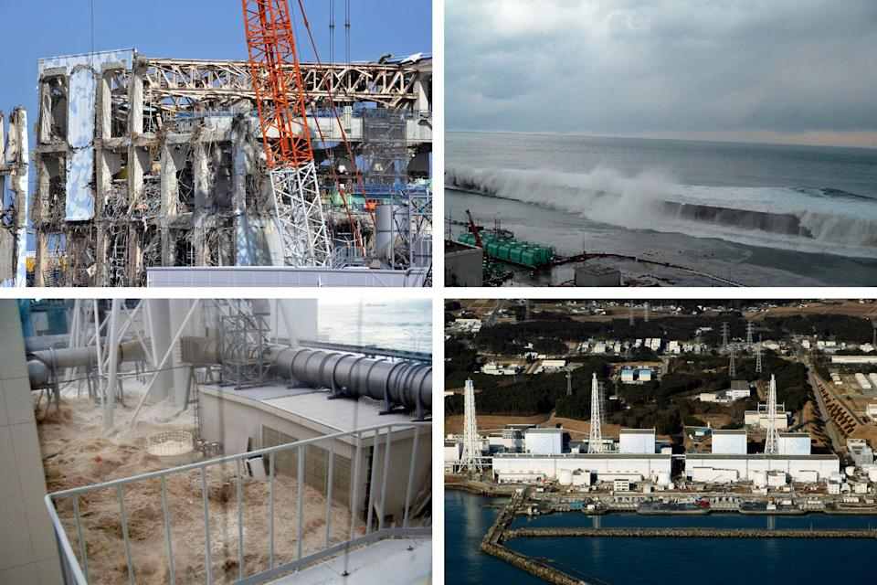 Top left: The Unit 4 reactor building of the Fukushima Daiichi nuclear power plant in northeastern Japan on Feb. 28, 2012. The country's 2011 tsunami and earthquake triggered the worst nuclear accident since Chernobyl in 1986. Top right: The east side of Unit 5 on March 11, 2011. Bottom left: Wearing special protective gear, workers clean up the Fukushima Daiichi nuclear site on June 12, 2015. Bottom right: An aerial view of the Fukushima nuclear power plant on March 12, 2011. Credit: Getty/AP (Photo: )