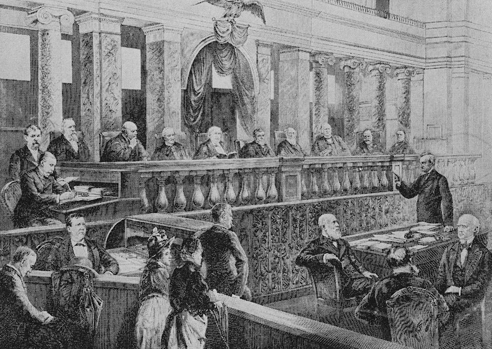 "<span class=""caption"">For the first 110 years of its existence, the Supreme Court was white, male and predominantly Protestant.</span> <span class=""attribution""><a class=""link rapid-noclick-resp"" href=""https://newsroom.ap.org/detail/SupremeCourt1888/bed560d106f74f1cb0828bd1c73696de/photo?Query=Supreme%20Court%20justices&mediaType=photo&sortBy=arrivaldatetime:asc&dateRange=Anytime&totalCount=12813&currentItemNo=1"" rel=""nofollow noopener"" target=""_blank"" data-ylk=""slk:AP Photo"">AP Photo</a></span>"