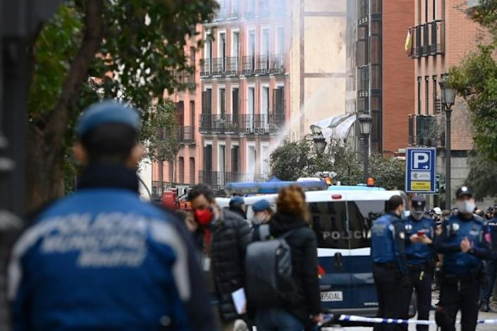 Emergency personnel secured the area after the explosion in La Latina district of Madrid