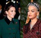 """<p>As a royal, Kate Middleton attends many functions where the dress code strictly calls for a hat. As a loophole, the Duchess has <a href=""""https://www.townandcountrymag.com/society/tradition/a25845968/kate-middleton-hatband-trend/"""" rel=""""nofollow noopener"""" target=""""_blank"""" data-ylk=""""slk:revived the headband trend"""" class=""""link rapid-noclick-resp"""">revived the headband trend</a>, which have been dubbed """"hatbands."""" It's a trend that even celebrities have joined in on, as seen here on Rita Ora at the Fashion Awards in 2018. </p>"""