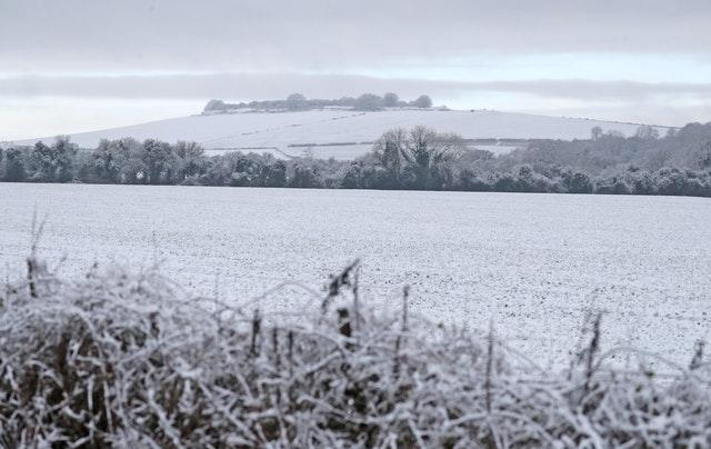 Snow-covered fields in Grateley, Hampshire