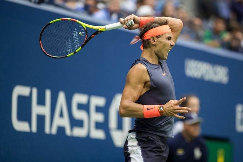 Rafael Nadal of Spain in action against Juan Martin Del Potro of Argentina in last year's Men's Singles Semi Final match on Arthur Ashe Stadium at the 2018 US Open Tennis Tournament at the USTA Billie Jean King National Tennis Center on September 7th, 2018 in Flushing, Queens, New York City. | Tim Clayton - Corbis/Getty Images