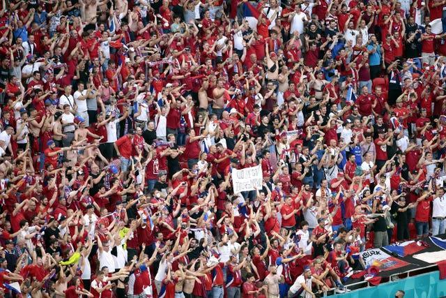 Czech Republic fans celebrate their side's surprise 2-0 win over Holland at Euro 2020