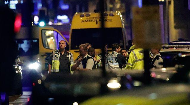 Emergency services at the scene of a van attack in front of a mosque in London. Photo: AP