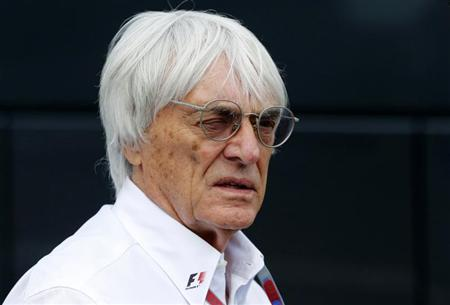 Formula One commercial supremo Ecclestone looks on at the start of the qualifying session of the Belgian F1 Grand Prix in Spa Francorchamps
