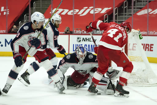 in the second period of an NHL hockey game Monday, Jan. 18, 2021, in Detroit. (AP Photo/Paul Sancya)