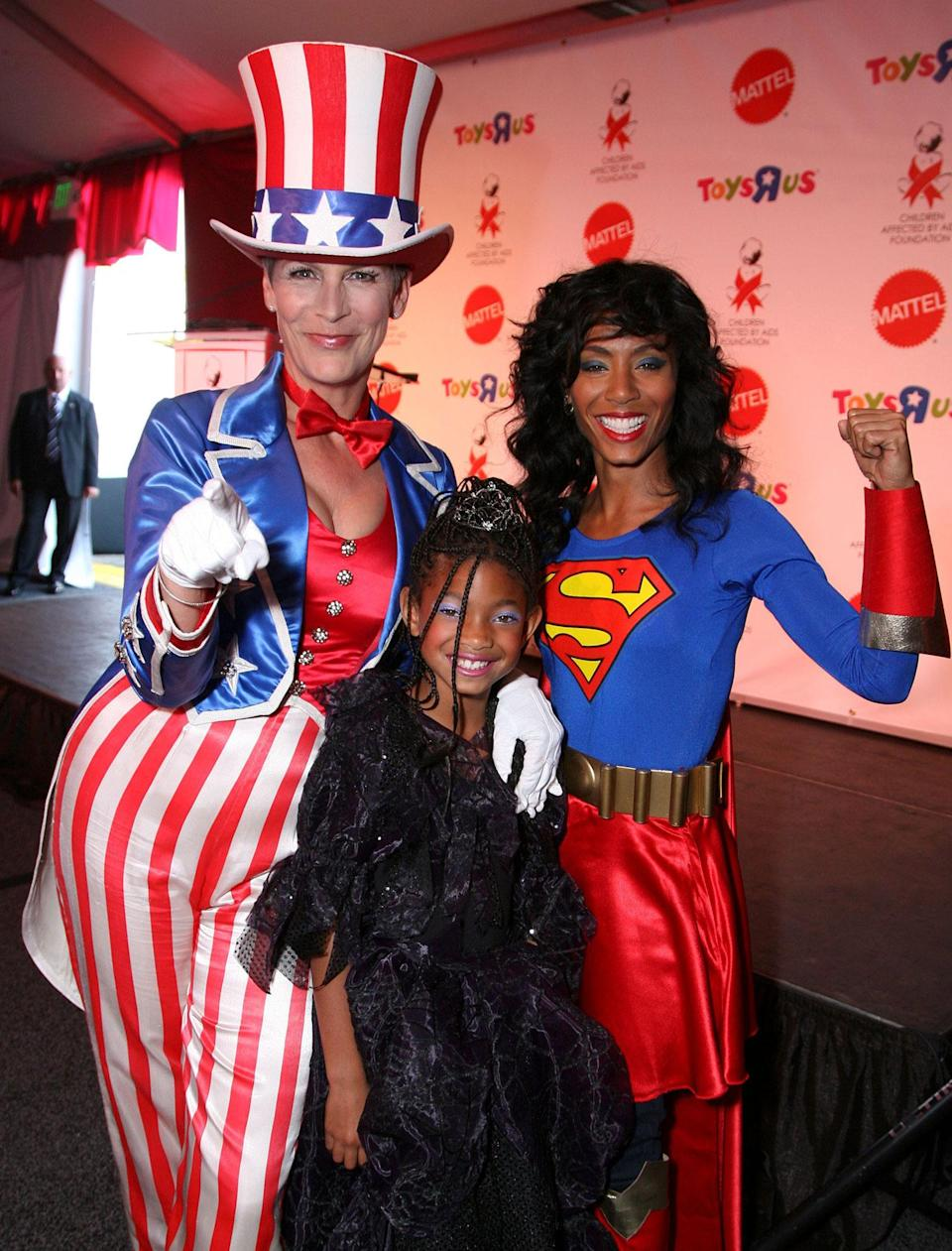 <p>Jamie Lee Curtis with Jada Pinkett Smith and Willow Smith at the 15th annual Dream Halloween fundraising event in 2008. (Alex J. Berliner/BEI/REX/Shutterstock) </p>