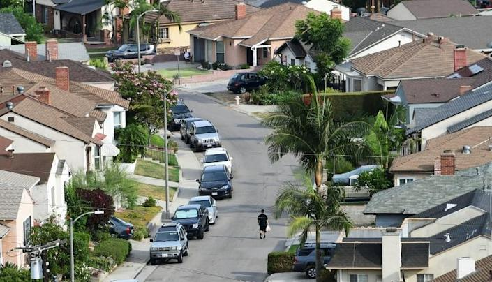 A neighborhood of single family homes in Los Angeles -- the expiry of a nationwide US ban on evictions leaves millions at risk of homelessness