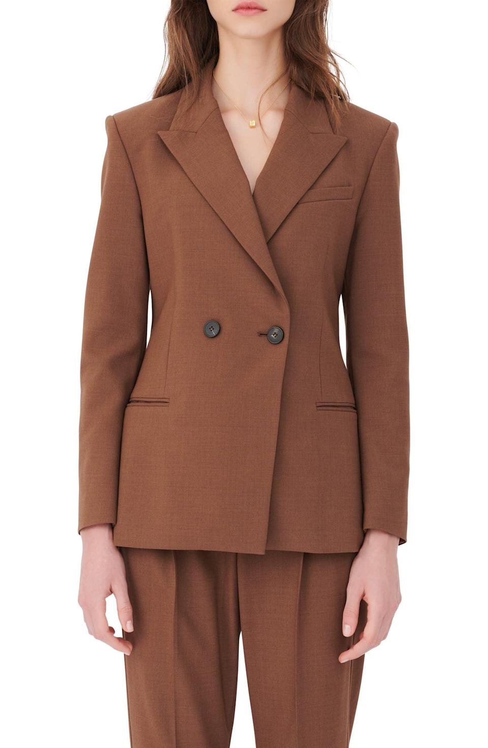 <p>The classic look of this <span>Maje Double Breasted Stretch Wool Blazer</span> ($525) makes it a timeless investment.</p>