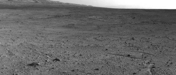 """NASA's Mars rover Curiosity captured this view using its Navigation Camera (Navcam) after reaching the top of a rise called """"Panorama Point"""" with a drive during the 388th Martian day, or sol, of the rover's work on Mars (Sept. 8, 2013)."""