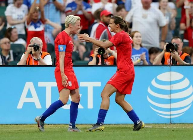 US Women's World Cup stars Megan Rapinoe (L) and Tobin Heath have decided not to compete in the National Women's Soccer League tournament that opens Saturday in Utah (AFP Photo/ELSA)