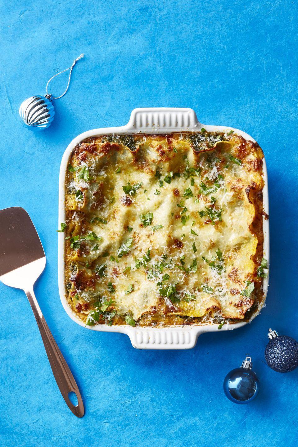 "<p>Lasagna is a family-favorite no matter how you slice it, and this cold-weather version is no exception. </p><p><a href=""https://www.goodhousekeeping.com/food-recipes/easy/a46935/winter-squash-and-spinach-lasagna-recipe/"" rel=""nofollow noopener"" target=""_blank"" data-ylk=""slk:Get the recipe Winter Squash and Spinach Lasagna »"" class=""link rapid-noclick-resp""><em>Get the recipe Winter Squash and Spinach Lasagna »</em></a></p>"