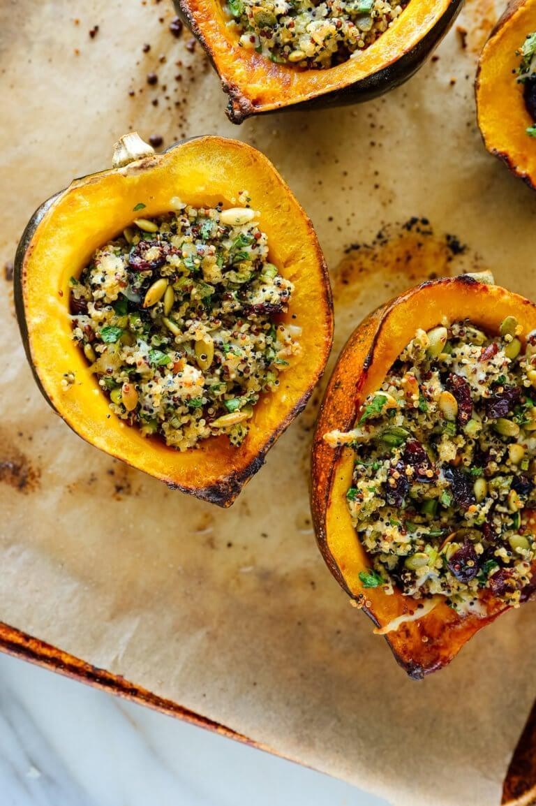 "<p>Pack your acorn squash full of this delicious quinoa mix.</p> <p><strong>Get the recipe:</strong> <a href=""https://cookieandkate.com/vegetarian-stuffed-acorn-squash-recipe/"" class=""link rapid-noclick-resp"" rel=""nofollow noopener"" target=""_blank"" data-ylk=""slk:quinoa stuffed acorn squash"">quinoa stuffed acorn squash</a></p>"