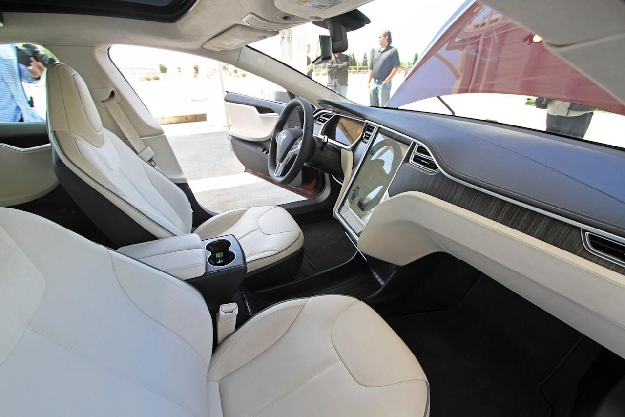 The interior of the Tesla Model S.