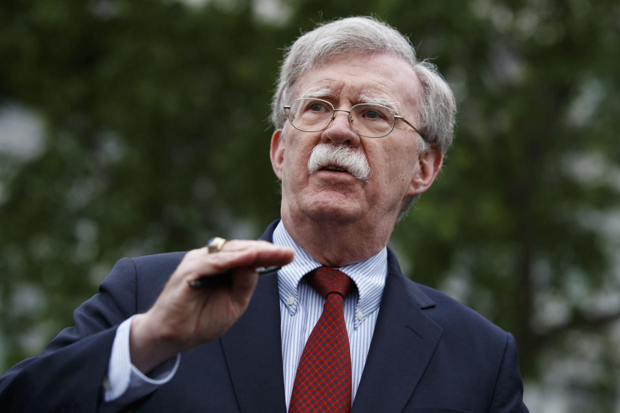 National security adviser John Bolton outside the White House in May. (Photo: AP/Evan Vucci)
