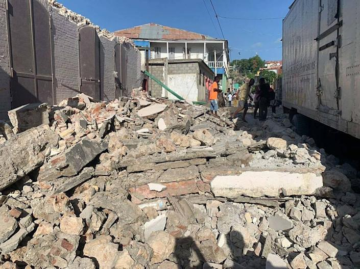Scene in Les Cayes in Southwest Haiti after an earthquake struck on Saturday, Aug. 14, 2021.