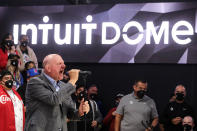 Los Angeles Clippers chairman Steve Ballmer speaks during a groundbreaking ceremony of the Intuit Dome, Friday, Sept. 17, 2021, in Inglewood, Calif. The Clippers' long-awaited, $1.8 billion, the privately funded arena is officially named Intuit Dome. The practice facility, team offices for both business and basketball operations, retail space, and more will all be on the site when it opens in 2024. (AP Photo/Ringo H.W. Chiu)