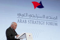 """FILE - In this Monday, Dec. 9, 2019 file photo, former U.S. Vice President Dick Cheney speaks to the audience at the Arab Strategy Forum in Dubai, United Arab Emirates, warning that """"American disengagement"""" in the Middle East will benefit only Iran and Russia, indirectly criticizing President Donald Trump's pledges to pull forces out of the region. (AP Photo/Kamran Jebreili, File)"""