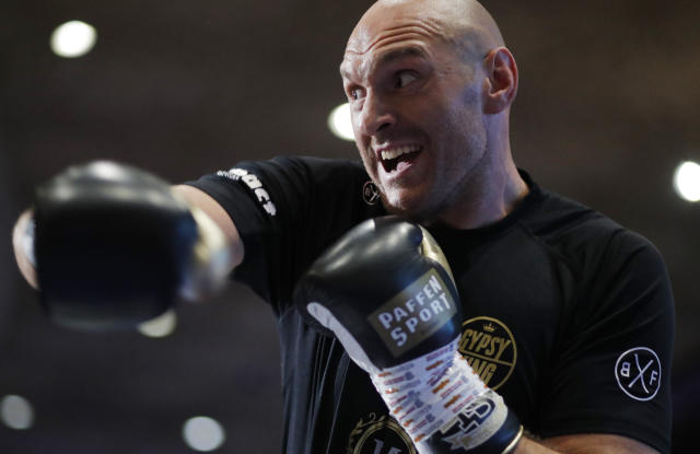 Tyson Fury works out for fans and the media Tuesday, June 11, 2019, in Las Vegas. Fury is scheduled to fight Tom Schwarz in a heavyweight bout Saturday in Las Vegas. (AP)