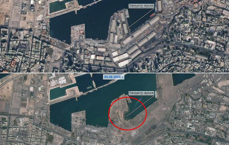 The port area of Lebanon's capital, Beirut, shot from space before (top) and after (bottom). Source: Roscosmos State Corporation/Sipa USA