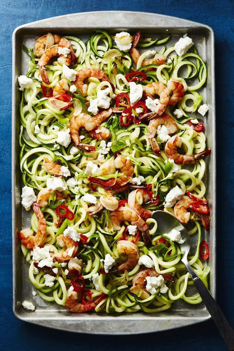 "<p>Get your daily dose of veggies by swapping noodles for zoodles.</p><p><a href=""https://www.redbookmag.com/food-recipes/a22779101/roasted-shrimp-scampi-recipe/"" rel=""nofollow noopener"" target=""_blank"" data-ylk=""slk:Get the recipe for Roasted Shrimp Scampi and Zoodles »"" class=""link rapid-noclick-resp""><em>Get the recipe for Roasted Shrimp Scampi and Zoodles »</em></a></p>"