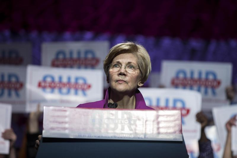 Senator Elizabeth Warren speaks at a recent political rally in Boston: Scott Eisen/Getty Images