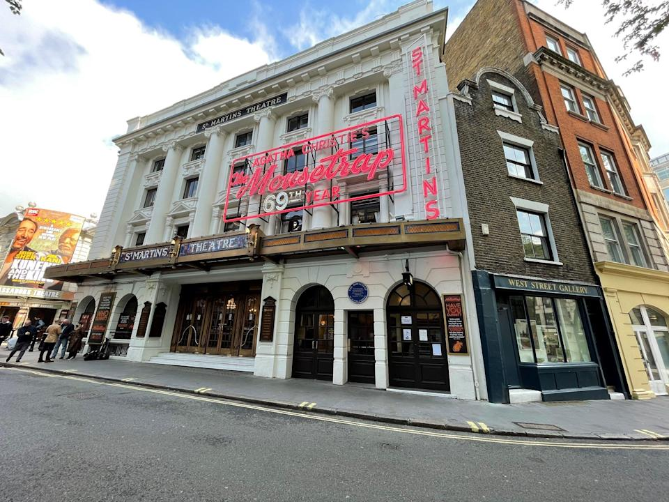 <p>St Martin's Theatre which reopened with a socially distanced performance of The Mousetrap</p> (PA)