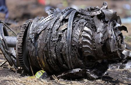 FILE PHOTO: Airplane engine parts are seen at the scene of the Ethiopian Airlines Flight ET 302 plane crash, near the town of Bishoftu, southeast of Addis Ababa, Ethiopia March 11, 2019. REUTERS/Tiksa Negeri/File Photo
