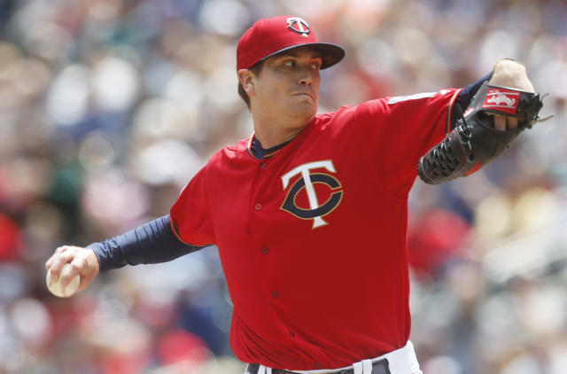Minnesota Twins pitcher Kyle Gibson throws against the Chicago White Sox in the first inning of a baseball game Saturday, May 25, 2019, in Minneapolis. (AP Photo/Jim Mone)